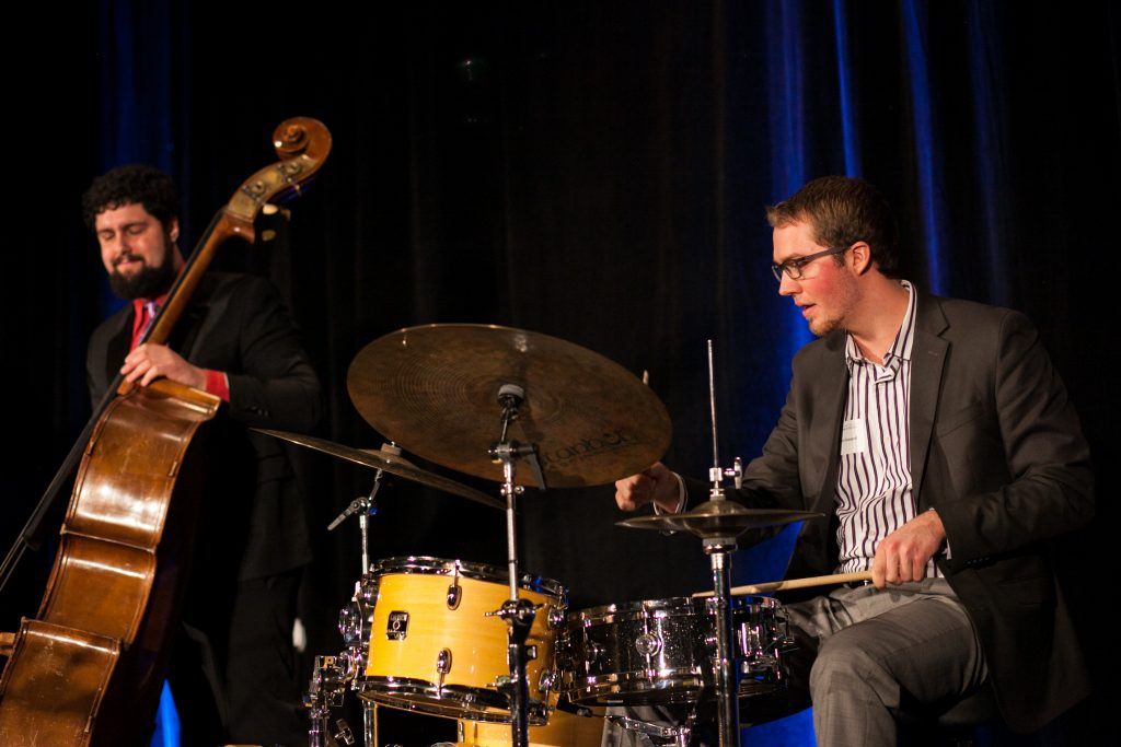 Bassist Alex Browne and drummer Don Gozzard performing at the 2017 Doty Award Dinner honoring alumna pianist Helen Sung.