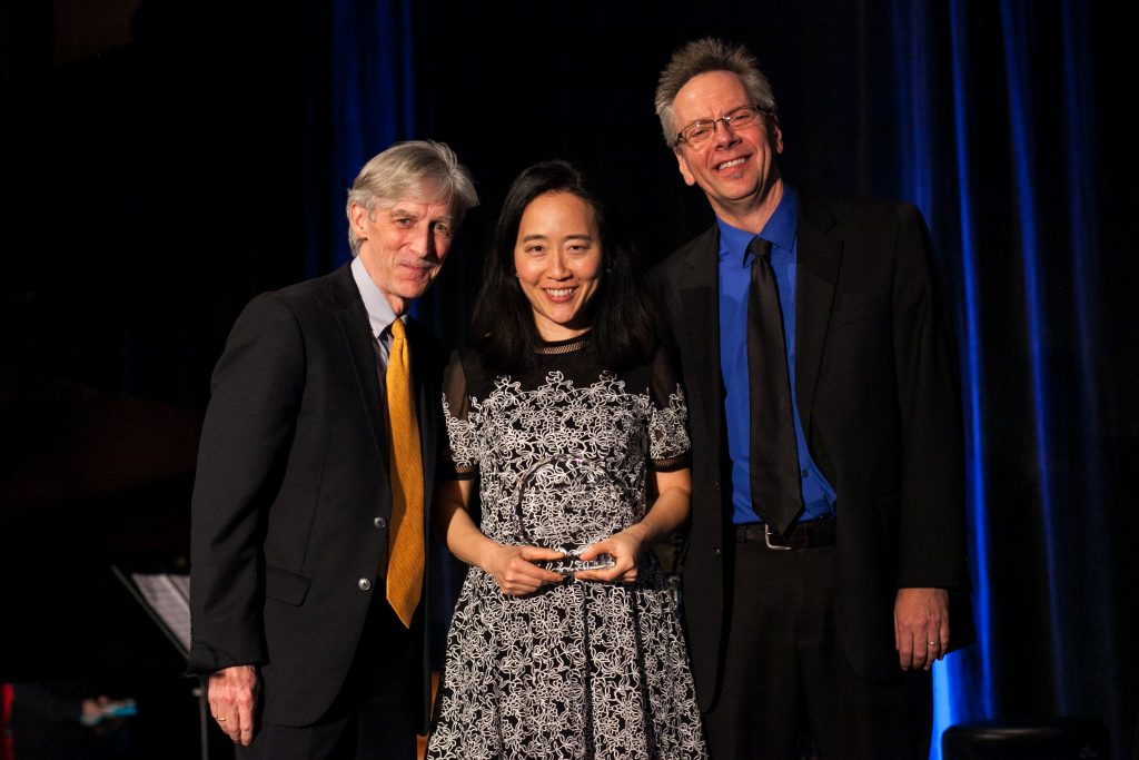 Dean Doug Dempster, Helen Sung, and Professor Jeff Hellmer at the Doty Award Dinner on January 27, 2017.