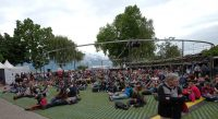 audience sitting on lawn at montreux
