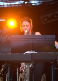 Jessica Mortensen plays sax at montreux
