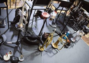 trumpet section instruments on stage