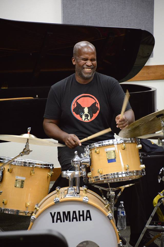 Drummer will Kennedy plays at his masterclass