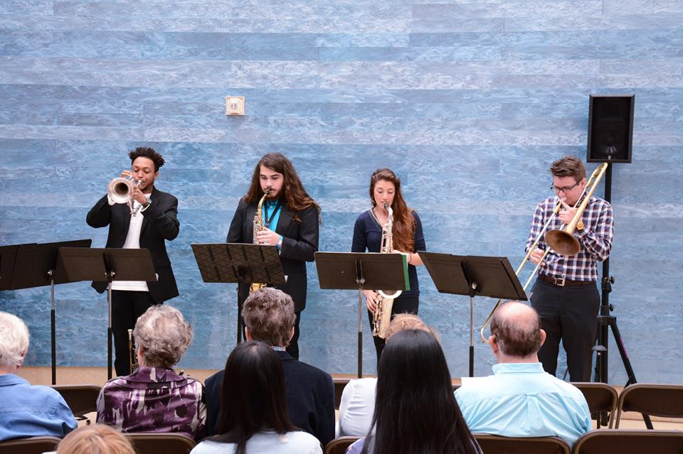AIME horn players perform at Blanton museum of art