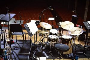 view of drums from onstage at bates recital hall