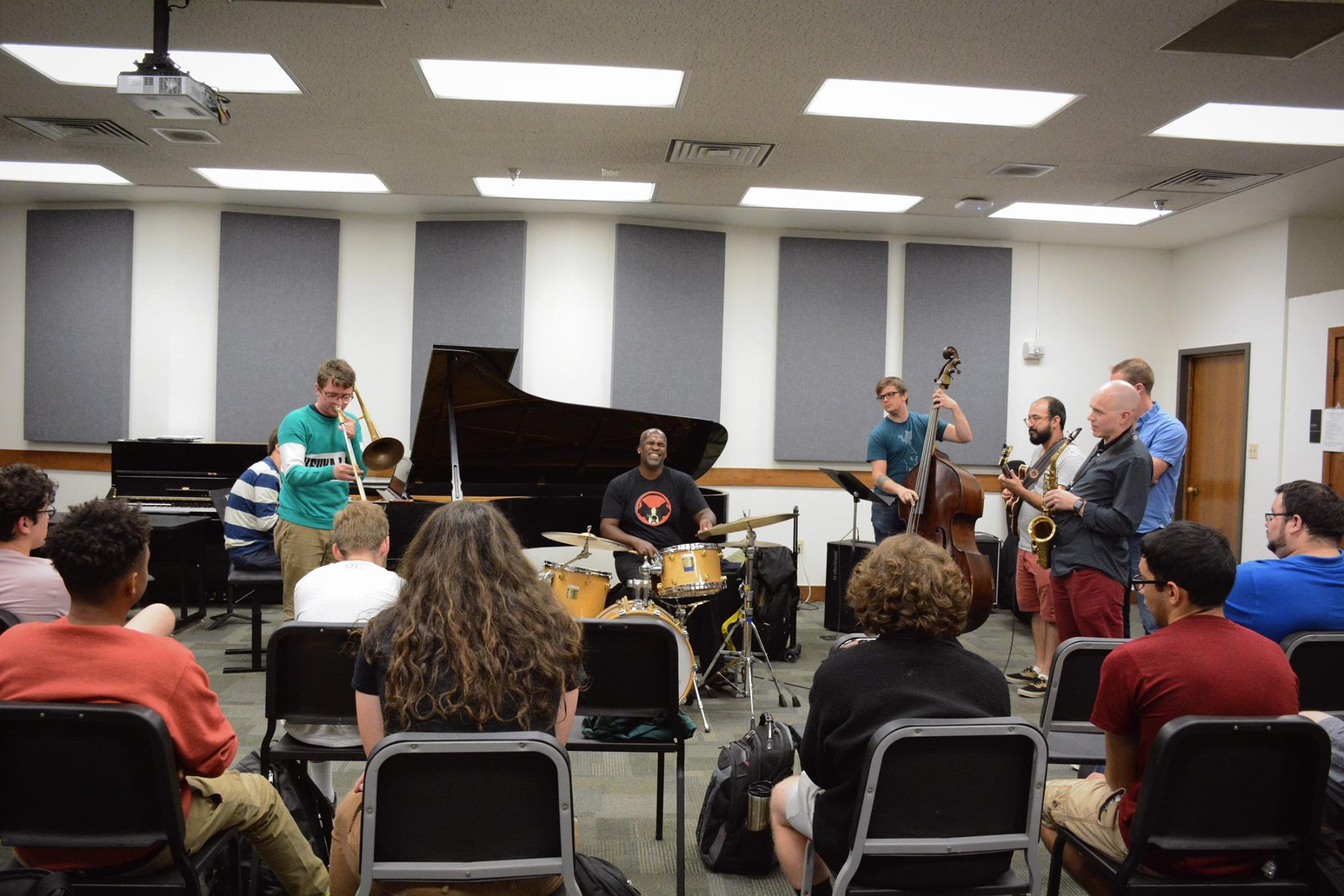 group plays with Will Kennedy at masterclass