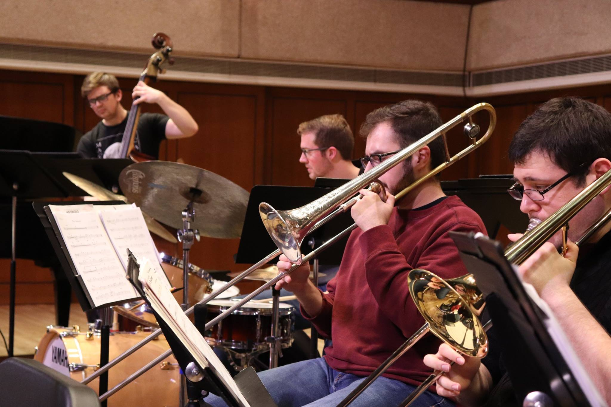 trombones in UTJO rehearsal at Bates Recital Hall