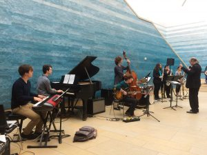 AIME ensemble soundcheck at Blanton Museum atrium