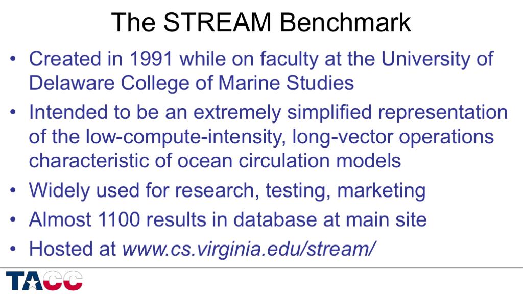 John McCalpin's blog » STREAM benchmark