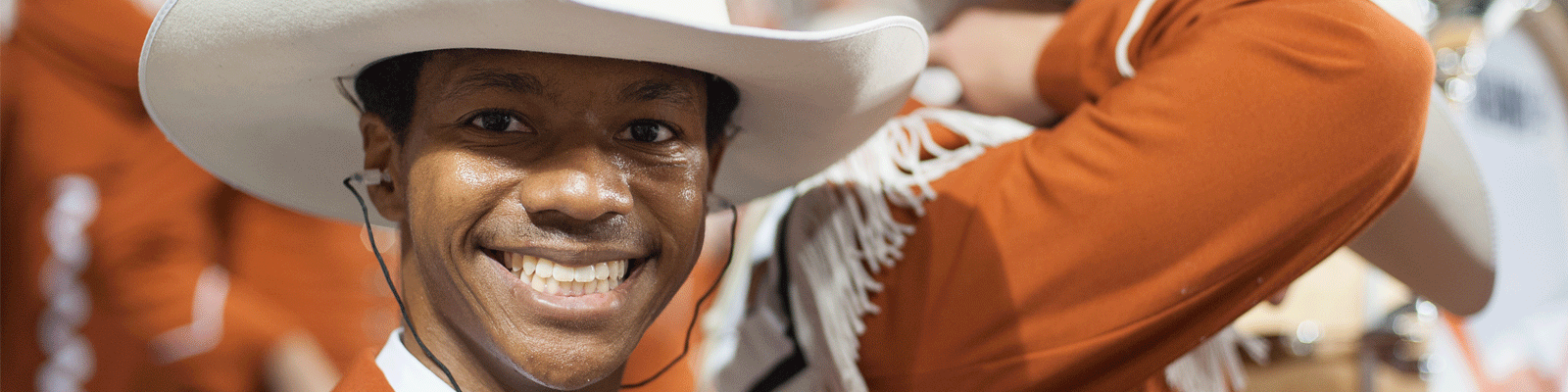 Closeup of Longhorn Band student smiling