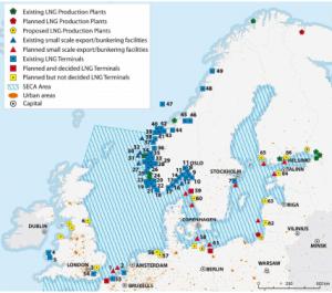 LNG ports in European SECA (IMO).