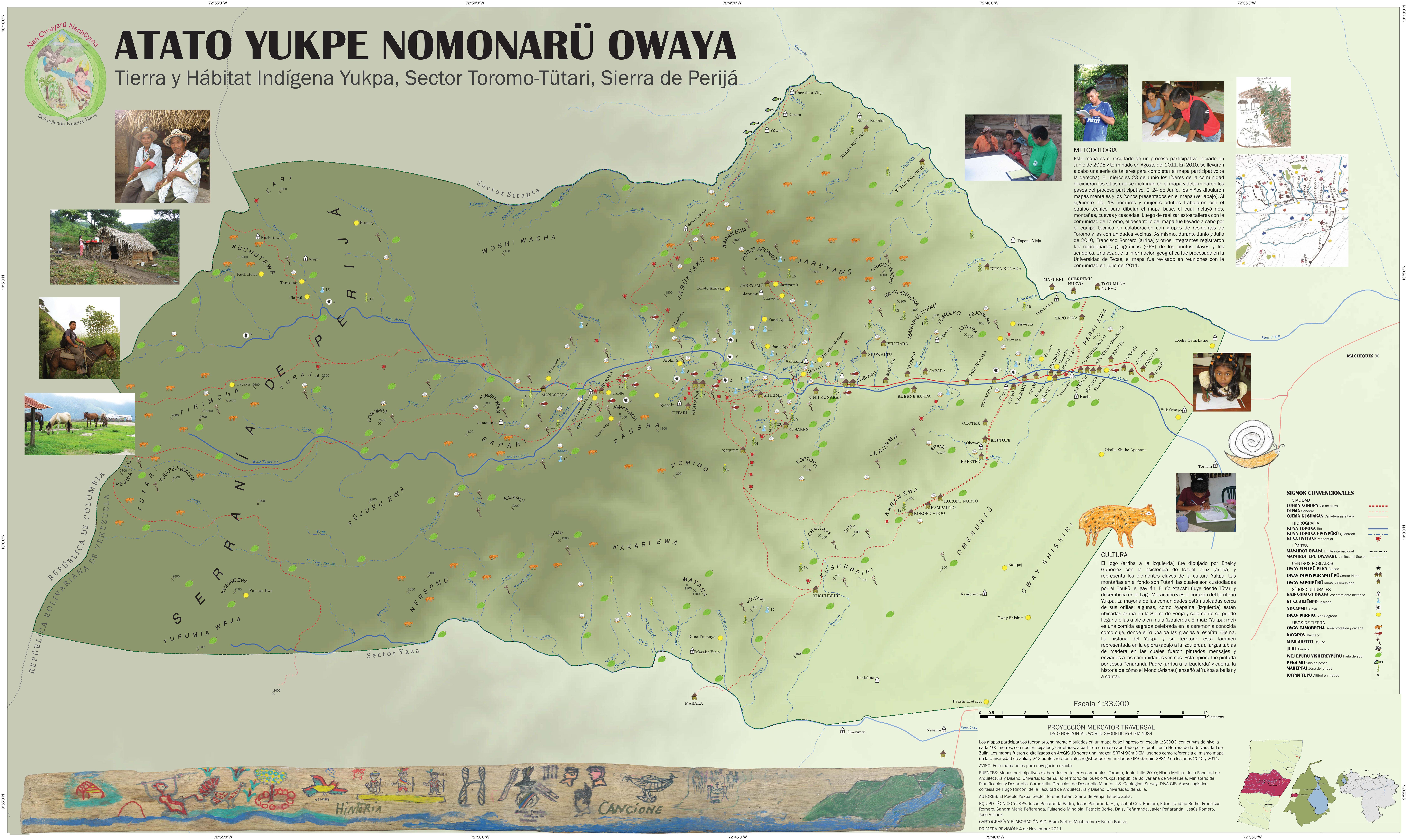 Participatory map of Yukpa territory, Toromo, Zulia, Venezuela.