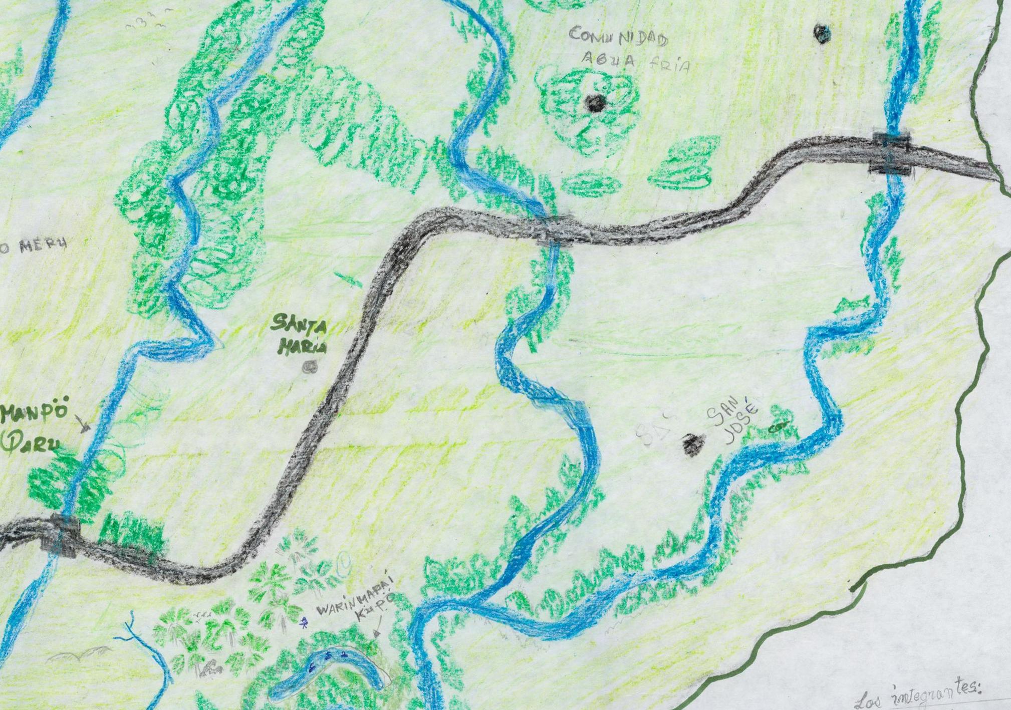 Children's mental map, Agua Fria, Pemon territory, Gran Sabana, Venezuela.