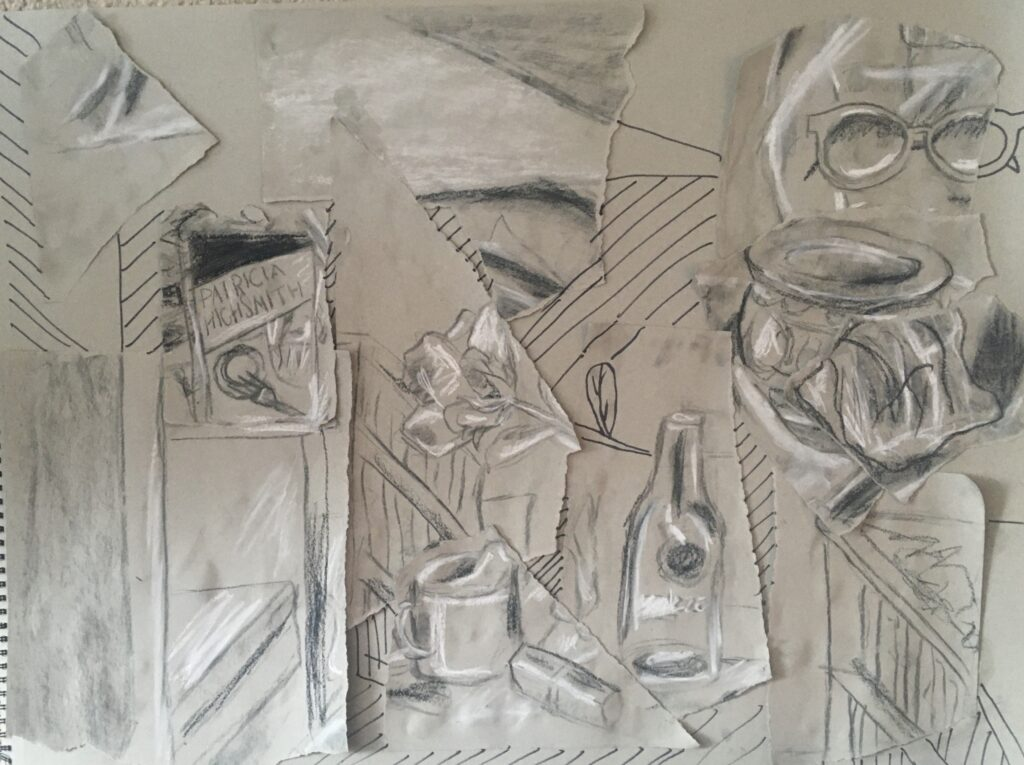 StillLife by Mazzy S. with torn paper and charcoal, Intensive 2020