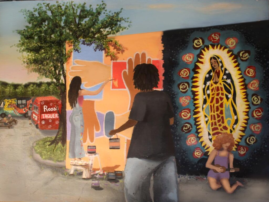 2020 Second Winner, Andrea N. with mural painting, Intensive 2020