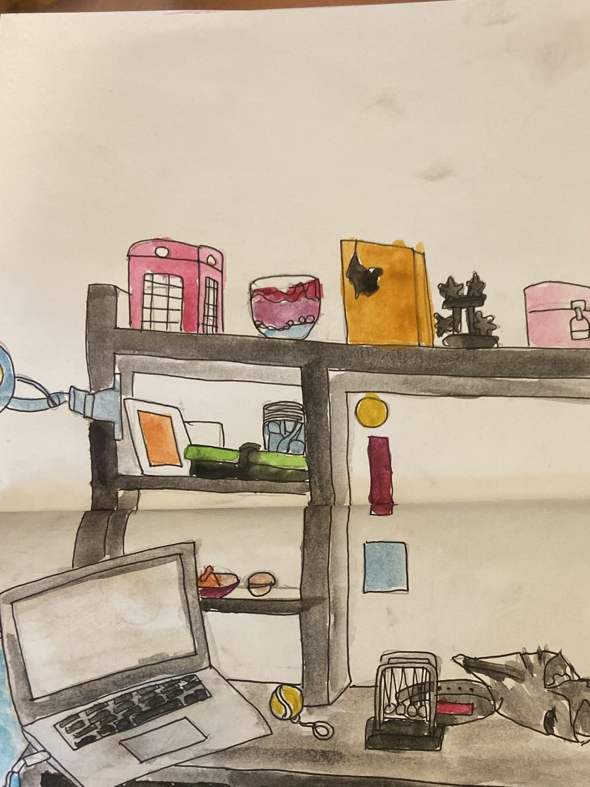 Interior Sketch by Abigail G. in pen and watercolor, Zip ST.ART 2020