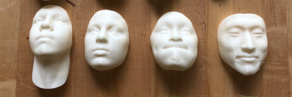 3D printed portraits from 2019 Intensive students.