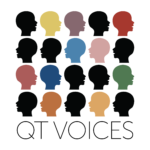 QT Voices Logo white background with 5 by 5 multicolor and black human profile icons with the words QT Voices beneath