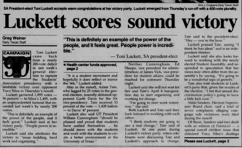 "Newspaper clipping with title reads ""Luckett scores sound victory"" referring to Toni Luckett, a black feminist lesbian woman who became student president at UT in 1990."