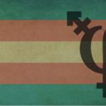 flag with green, red, yellow horizontal stripes with the trans symbol combined with the Greek symbol for philosophy. combined with the