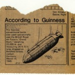 Newspaper clipping of a British bomb used in research for Night Soldiers.