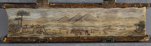 Which biblical stories are illustrated in this fore-edge painting?