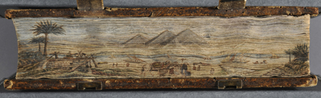 Fore-edge painting of a Nile River scene by John T. Beer on a 1481 Bible