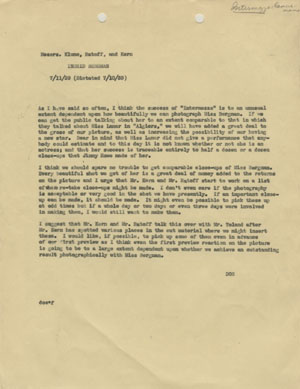 Click image to enlarge. Memo from David O. Selznick to production manager Ray Klune, director Gregory Ratoff, and editor Hal Kern regarding the importance of close-ups of Ingrid Bergman in 'Intermezzo,' July 11, 1939