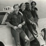 """Production still from the set of """"Blue Collar"""" (1978) with Paul Schrader, Harvey Keitel, Yaphet Kotto, and Richard Pryor."""