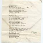 """Keep Me Out of L.A.,"" typescript song lyrics. David Mamet papers. © David Mamet"