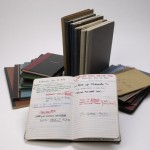 Some of David Mamet's journals and notebooks, ranging from 1966 through 2001. Photo by Pete Smith.