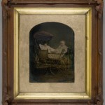 Two Infants in a Carriage. Unidentified photographer. Ca. 1875. Oil on tintype. Deep Rustic style frame.