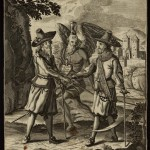 Unidentified (German). Untitled [Satire on men's fashion], Late 17th century. Engraving and etching. Satirical broadside on imported men's fashions. Two dandies in elaborate costumes are shown shaking hands. Behind them, a bearded angel with a hourglass on his head is about to cut them down with his scythe.