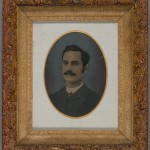 Man with Mustache. Unidentified photographer. Ca. 1895. Oil on tintype. Modern style frame.