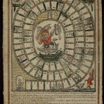 Unidentified (Italian). Il nuovo giuoco dell'oca (The new game of the goose), early 18th century. Hand-colored woodcut with letterpress. Board games, originating primarily among the upper classes, were gradually assimilated by the rest of society. This broadside has changed very little from earlier publications of this popular game. However, here the central figure, which in a similar 1650 version of the game consisted of an elegantly dressed, upper-middle class couple with their children, has given way to a grotesque dwarf riding a goose and brandishing a sword in one hand and a doomed bird in the other. The fact that this figure in the center has replaced the upper-class couple is indicative of the social change this game has undergone.