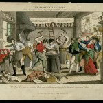 """Unidentified (French). Le Fameux Lustucru, Seul et unique dans son genre pour repolir les têtes des femmes etc. (The famous Lustucru. Unique in his profession of refashioning wives' heads), ca 1797. Hand-colored etching. The name """"Lustucru"""" is probably a pun on the the phrase """"l'eus-tu-cru?"""" or """"would you have believed it?"""" The brightly colored etching shows him and his son in their workshop in Madagascar, hard at work refashioning the heads of itinerant women or wives, correcting their faults and making them prettier."""