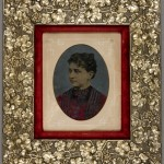 Woman in Red Dress. Unidentified photographer. Ca. 1880. Oil on tintype. Aesthetic style frame with silver gilt by McKown & Co.