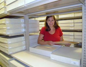 Photographic Archivist Mary Alice Harper works with the Magnum Photos Collection. Photo by Linda Briscoe Myers.