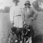 "Blanche and Alfred Knopf, early 1920s. Their first dogs were borzois, which supplied a name for Knopf, Inc.'s famous ""Borzoi Books."" Blanche came to despise them and had switched to other breeds by this time. Knopf, Inc. archive."