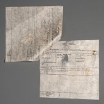 This telegram to Compton Mackenzie was written out in an English hand on two sheets of a paper known as lokta, which is prepared by hand from fibers obtained from the bark of the Nepalese lokta tree (Daphne cannabina). This image shows the second page of the telegram with a void, or defect, in the paper.