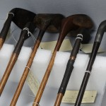 Arthur Conan Doyle's golf clubs are protected by styrofoam spacers and labeled with tags. Photo by Anthony Maddaloni.