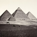 "Francis Frith, ""The Pyramids of El-Geezeh, From the South-West,"" 1859. Albumen print. 37.7 x 48.8 cm."