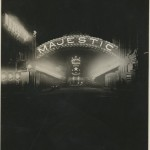 Exterior lights at night of the Majestic Theatre Fort Worth. Hoblitzelle-Interstate Collection.
