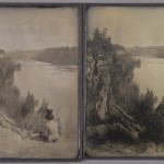 "Southworth and Hawes [Albert Sands Southworth and Josiah Johnson Hawes], ""River View with Seated Figure,"" ca 1854. Stereo daguerreotypes. 21.4 x 16.4 and 21.4 x 16.4 cm."