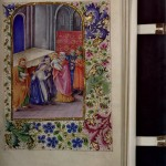 Book of Hours (France, 15th-19th Century). Medieval and Early Modern Manuscripts Collection. Illuminated Books of Hours, or private devotional manuals, emerged as a distinct genre in the late thirteenth century. By the fourteenth, these status symbols had become items of conspicuous consumption for the nobility. The quantity and quality of their illustrations, called miniatures, is often an indication of their value, but this particular example has a twist—these illuminations are nineteenth-century fakes. While the manuscript dates to the fifteenth century, the miniatures were either over-painted or entirely fabricated approximately 500 years later into blanks left by the medieval scribe (for just such enhancement). The work is probably that of a nineteenth-century artist attempting to increase the value of a medieval manuscript. Photo by Pete Smith.