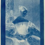 "Sir John Herschel. ""The Honourable Mrs. Leicester Stanhope,"" 1836. Cyanotype. Herschel invented the cyanotype process."