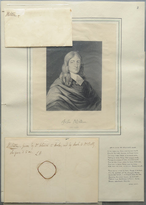 Portrait and hair sample of John Milton. Photo by Pete Smith.