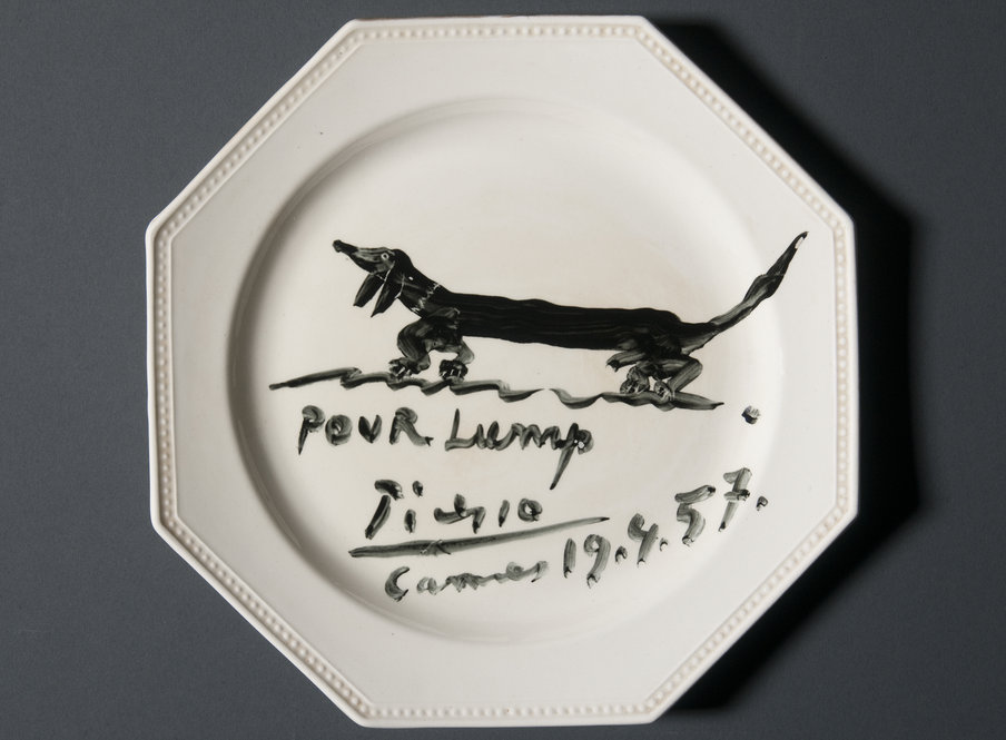 Plate painted by Pablo Picasso donated to Ransom Center by photojournalist Duncan