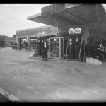 "Unidentified Itinerant Photographer, ""Shell Service Station,"" 1934.Gelatin silver glass plate negative."