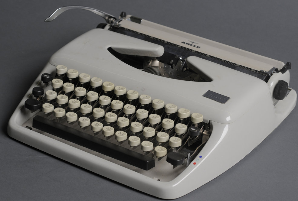 Tippa model typewriter made by Adler. This is one of three Fowles typewriters at the Ransom Center. Photo by Anthony Maddaloni.