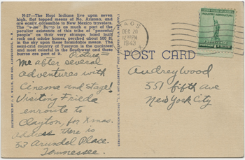 Back of postcard from Tennessee Williams to Audrey Wood, postmarked December 20, 1943. Copyright ©2011 by the University of the South. Reprinted by permission of Georges Borchardt, Inc. All rights reserved.